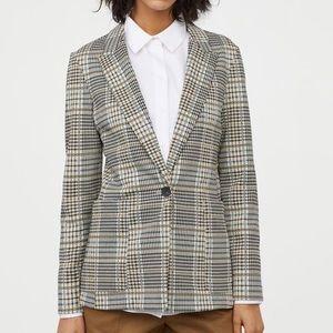 H&M Jersey Knit Plaid Blazer 16